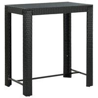 vidaXL Sodo baro staliukas, juodas, 100x60,5x110,5cm, poliratanas