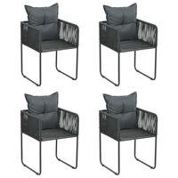 vidaXL Lauko kėdės, 2 vnt., su pagalvėlėmis, poliratanas, juodos