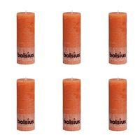 Bolsius Kaimiško stiliaus žvakės, 6vnt., oranžinės, 190x68mm