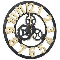vidaXL Sieninis laikrodis, auksinės ir juodos spalvos, 70 cm, MDF