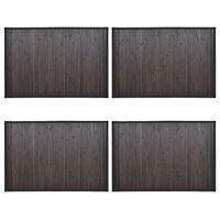 vidaXL Vonios kilimėliai, 4vnt., tamsiai rudi, 60x90cm, bambukas