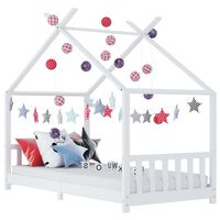 vidaXL Vaikiškos lovos rėmas, baltos spalvos, 80x160cm, pušies masyvas