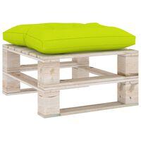 vidaXL Otomanė iš paletės su šviesiai žalia pagalvėle, pušies mediena