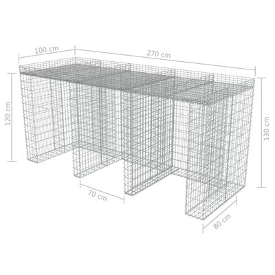 vidaXL Gabiono siena konteineriui, galvanizuotas plienas, 270x100x130cm