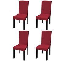 vidaXL Tamprūs ir tiesūs užvalkalai kėdėms, 4 vnt., Vyšninės spalvos