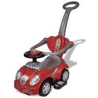 Raudonas Vaikiškas Automobilis su Stūmimo Rankena