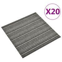 vidaXL Kiliminės plytelės, 20vnt., antracito, 50x50cm, 5m², dryžuotos