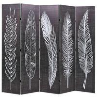 vidaXL Kamb. pertvara, sulankst., 200x170cm, juod. balt. sp. plunksnos