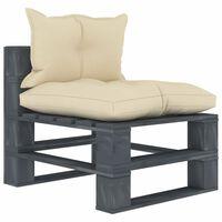 vidaXL Vidurinė sodo sofa iš palečių su kreminėmis pagalvėmis, mediena