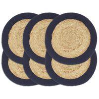 vidaXL Stalo kilimėliai, 6vnt., natūralios ir mėlynos spalvų, 38cm