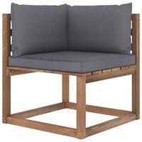 vidaXL Kampinė sodo sofa iš palečių su antracito spalvos pagalvėlėmis