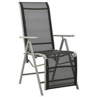 vidaXL Atlošiama sodo kėdė, sidabrinė, tekstilenas ir aliuminis
