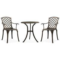 vidaXL Bistro baldų komplektas, 3 dalių, bronzinis, lietas aliuminis