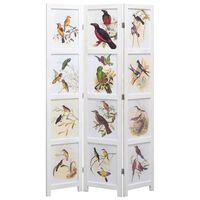 vidaXL Kambario pertvara, 5 d., baltos sp., 175x165 cm, su paukščiais