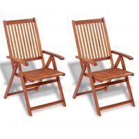 vidaXL Sulankstom. sodo kėdės, 2 vnt., akacijos mediena, rudos