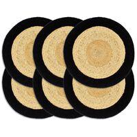 vidaXL Stalo kilimėliai, 6vnt., natūralios ir juodos spalvų, 38cm