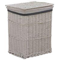 vidaXL Sudedamas skalbinių krepšys, baltos spalvos, gluosnis