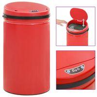 vidaXL Automatinė šiukšliadėžė su jutikliu, raudona, plienas, 50l