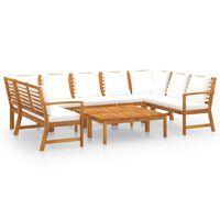 vidaXL Sodo baldų komplektas su pagalvėmis, 9 dalių, kreminis, akacija