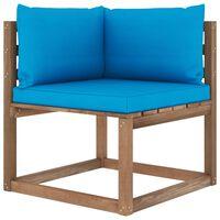 vidaXL Kampinė sodo sofa iš palečių su šviesiai mėlynomis pagalvėlėmis