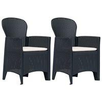 vidaXL Sodo kėdės su pagalv., 2vnt., antr. sp., plastik., rat. imit.