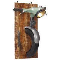 vidaXL Sieninis šviestuvas, geležis/mango masyvas, motorolerio dizaino