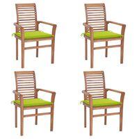 vidaXL Valgomojo kėdės su žaliomis pagalvėlėmis, 4vnt., tikmedis