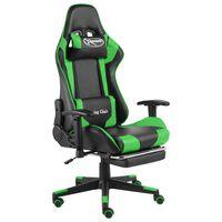 vidaXL Pasukama žaidimų kėdė su pakoja, žalios spalvos, PVC