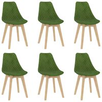 VidaXL Valgomojo kėdės, 6vnt., žalios, aksomas (289156+289157)