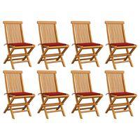 vidaXL Sodo kėdės su raudonomis pagalvėlėmis, 8vnt., tikmedžio masyvas