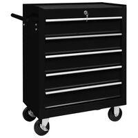 vidaXL Dirbtuvės įrankių vežimėlis, juodos spalvos, 5 stalčiai