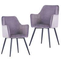 VidaXL Valgomojo kėdės, 2vnt., pilkos spalvos, aksomas