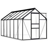 vidaXL Šiltnamis su pagrindo rėmu, antracito, aliuminis, 7,03 m²