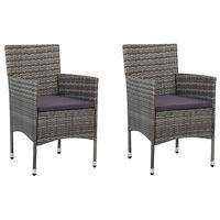 vidaXL Sodo valgomojo kėdės, 2 vnt., pilkos spalvos, poliratanas