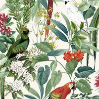 DUTCH WALLCOVERINGS Tapetai, balti ir žali, su tropiniais paukščiais