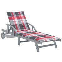 vidaXL Sodo saulės gultas su čiužinuku, akacijos medienos masyvas