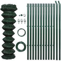 vidaXL Tinklinė tvora su stulpais, žalia, 1,5x25m, plienas