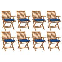 vidaXL Sulankstomos sodo kėdės su pagalvėlėmis, 8vnt., tikmedis