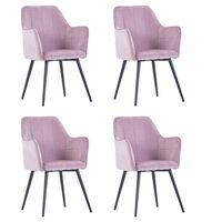 vidaXL Valgomojo kėdės, 4vnt., rožinės spalvos, aksomas (2x287822)