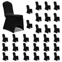 vidaXL Kėdžių užvalkalai, 30vnt., juodos spalvos, įtempiami (5x241198)
