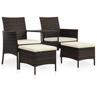 vidaXL Dvivietė sodo sofa su arbatiniu staliuku, ruda, poliratanas