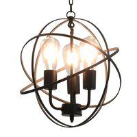 vidaXL Pakabinamas šviestuvas, juodos sp., sferinis, 3xE27 lemp.