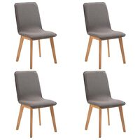 vidaXL Valgomojo kėdės, 4 vnt., rusvas audinys ir ąžuolo med. mas.