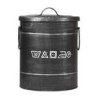 LABEL51 Skalbinių dėžė, juoda, 26x26x33cm, senovinio dizaino, S
