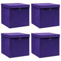 vidaXL Daiktadėžės su dangčiais, 4vnt., violetinės, 32x32x32cm,audinys