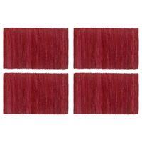 vidaXL Stalo kilimėliai, 4 vnt., viensp. vyšniniai, 30x45cm, medvilnė