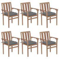 vidaXL Sudedamos sodo kėdės su pagalvėlėmis, 6vnt., tikmedžio masyvas
