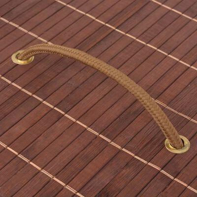 vidaXL Skalbinių krepšys, rudas, bambukas, ovalus