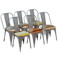 vidaXL Valgomojo kėdės, 6vnt., perdirbtos medienos masyvas