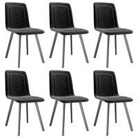 vidaXL Valgomojo kėdės, 6 vnt., juodos spalvos, aksomas (3x282570)
